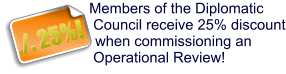 Members of the Diplomatic Council receive 25% discount when commissioning an Operational Review! ./. 25%!